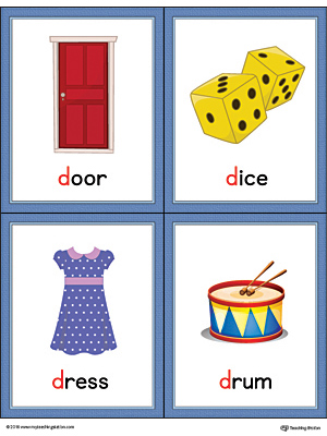 Letter D Words and Pictures Printable Cards: Door, Dice, Dress