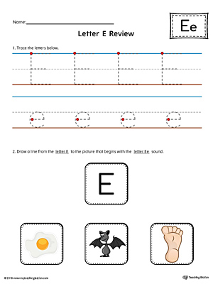 Letter E Review Worksheet (Color)