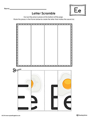 Letter E Scramble Worksheet (Color)