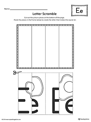 Letter E Scramble Worksheet