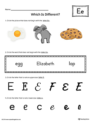 Letter E Which is Different Worksheet (Color)