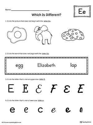 Letter E Which Is Different Worksheet Myteachingstation Com