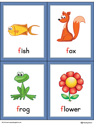 Letter F Words and Pictures Printable Cards: Fish, Fox, Frog, Flower (Color)