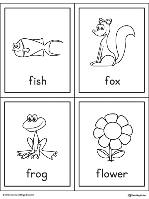 Letter F Words and Pictures Printable Cards: Fish, Fox, Frog, Flower