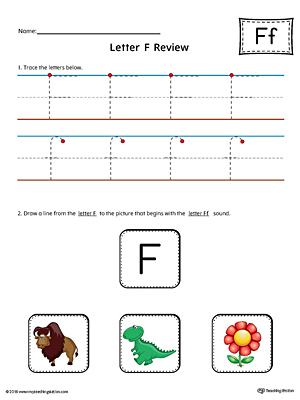 Letter F Review Worksheet (Color)