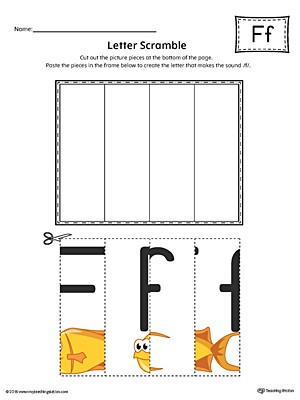 Letter F Scramble Worksheet (Color)