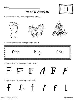 Letter F Which is Different Worksheet