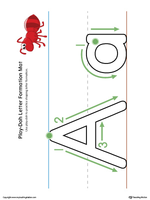 Letter Formation Play-Doh Mat: Letter A Printable (Color)
