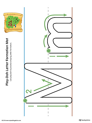 Letter Formation Play-Doh Mat: Letter M Printable (Color)
