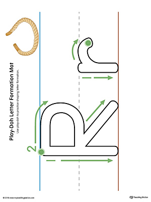 Letter Formation Play-Doh Mat: Letter R Printable (Color)