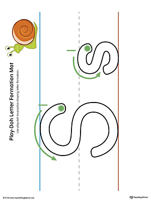 Letter Formation Play-Doh Mat: Letter S Printable (Color)