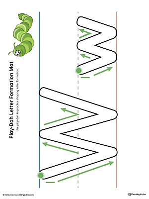 Letter Formation Play-Doh Mat: Letter W Printable (Color)