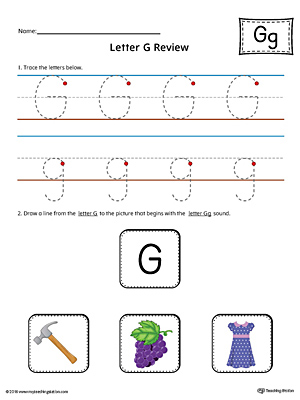 Letter G Review Worksheet (Color)