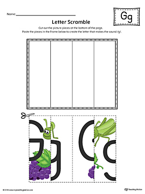 Letter G Scramble Worksheet (Color)