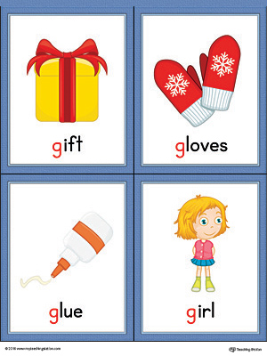 Letter G Words and Pictures Printable Cards: Gift, Gloves, Glue, Girl (Color)