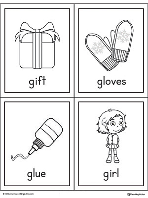 Letter G Words and Pictures Printable Cards: Gift, Gloves, Glue, Girl