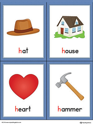 words that begin with the letter h letter h words and pictures printable cards hat house 636