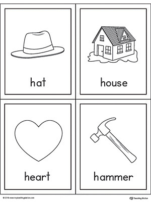 words with letter h letter h words and pictures printable cards hat house 25756