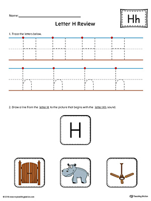 Letter H Review Worksheet (Color)