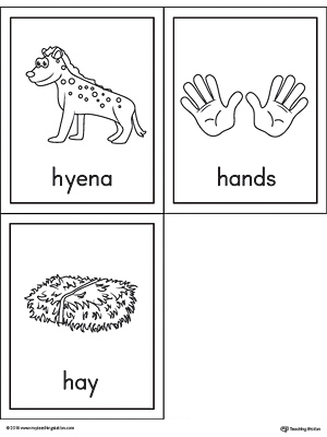 Letter H Words and Pictures Printable Cards: Hyena, Hands, Hay