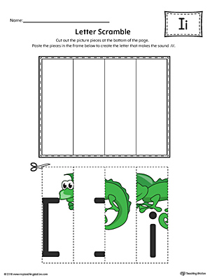 Letter I Scramble Worksheet (Color)