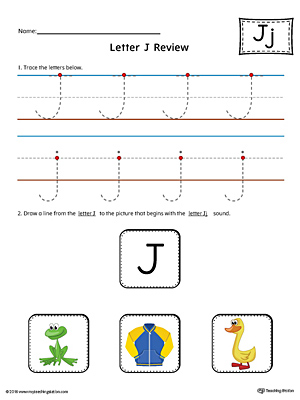 Letter J Review Worksheet (Color)