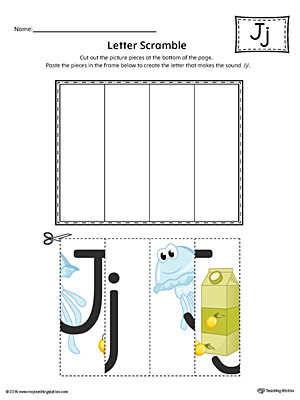 Letter J Scramble Worksheet (Color)