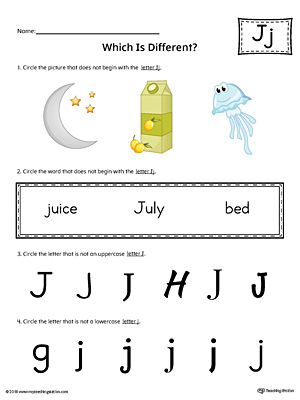 Letter J Which is Different Worksheet (Color)