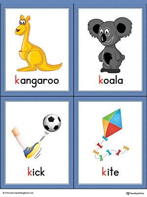 Letter K Words And Pictures Printable Cards Kangaroo Koala Kick Kite Color