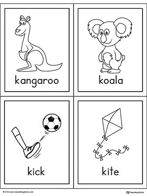 Letter k words and pictures printable cards kangaroo koala kick letter k words and pictures printable cards kangaroo koala kick kite sciox Images