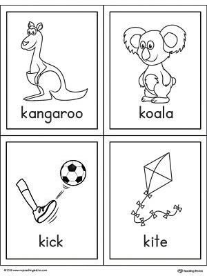 Letter K Words And Pictures Printable Cards Kangaroo Koala Kick Kite