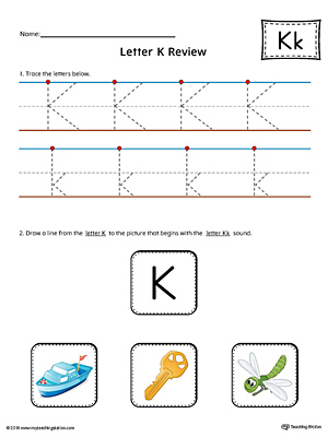 Letter K Review Worksheet (Color)