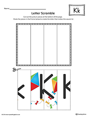 Letter K Scramble Worksheet (Color)