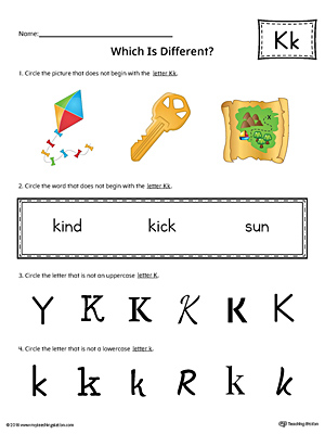 Letter K Which is Different Worksheet (Color)