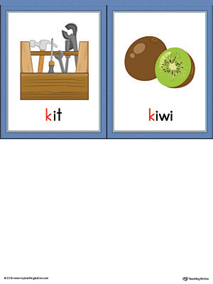 Letter K Words and Pictures Printable Cards: Kit, Kiwi ...