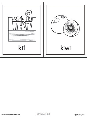 Letter K Words and Pictures Printable Cards: Kit, Kiwi