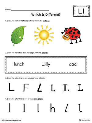Use the Letter L Which is Different in Color to practice identifying the uppercase and lowercase letter L and it