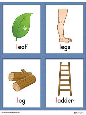 Letter L Words And Pictures Printable Cards Leaf Legs Log Ladder