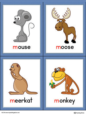 Letter M Words and Pictures Printable Cards: Mouse, Moose, Meerkat, Monkey (Color)