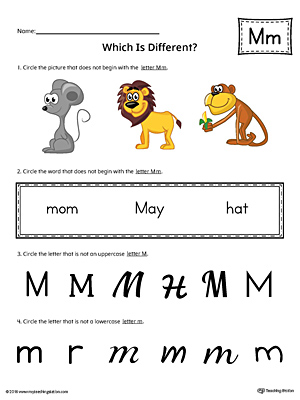 Letter M Which is Different Worksheet (Color)