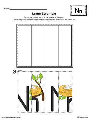Letter N Scramble Worksheet (Color)