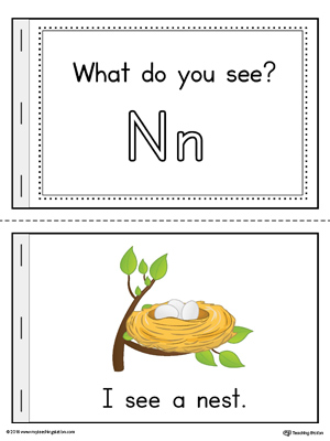 Letter N Words Printable Mini Book (Color)