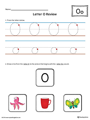 Letter O Review Worksheet (Color)