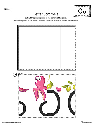 Letter O Scramble Worksheet (Color)