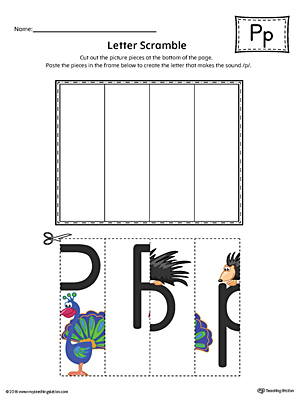 Letter P Scramble Worksheet (Color)