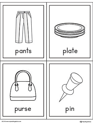 Letter P Words and Pictures Printable Cards: Pants, Plate, Purse, and Pin