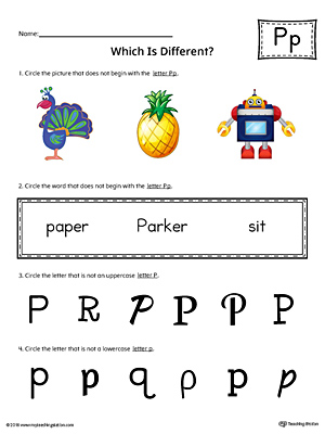Letter P Which is Different Worksheet (Color)