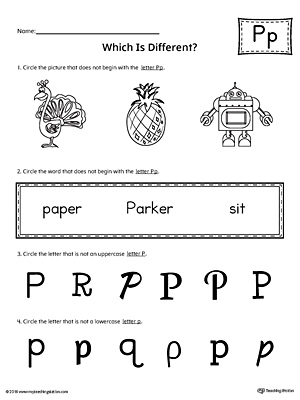 Letter P Which is Different Worksheet