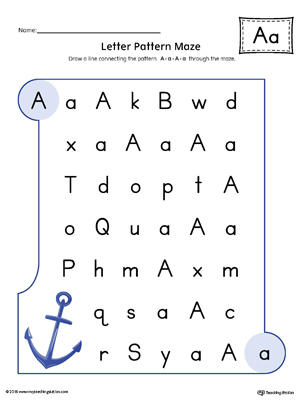 Letter A Pattern Maze Worksheet (Color)