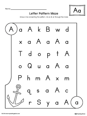 Letter A Pattern Maze Worksheet MyTeachingStation Adorable Letter Pattern